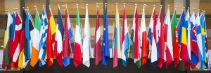 Flags of the European Union. EU flag in the middle.