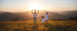 Family fun sunset